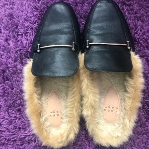 Women's Faux Fur Backless Mules - Black